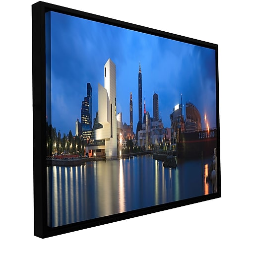 "ArtWall 'Cleveland!' Gallery-Wrapped Floater-Framed Canvas 12"" x 24"" (0yor048a1224f)"