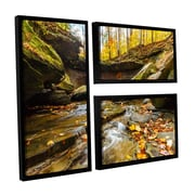 "ArtWall 'Blue Hen Falls 3' 3-Piece Canvas Flag Set 24"" x 36"" Floater-Framed (0yor003g2436f)"