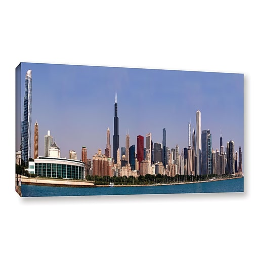 """ArtWall 'Chicago Pano' Gallery-Wrapped Canvas 12"""" x 24"""" (0yor014a1224w)"""
