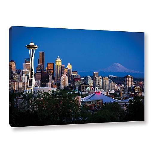 """ArtWall """"Seattle and Mt. Rainier"""" Gallery-Wrapped Canvas 32"""" x 48"""" (0yor050a3248w)"""