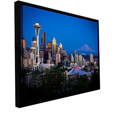 "ArtWall ""Seattle and Mt. Rainier"" Gallery-Wrapped Canvas 12"" x 18"" Floater-Framed (0yor050a1218f)"