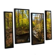 "ArtWall 'Blue Hen Falls' 4-Piece Canvas Staggered Set 36"" x 54"" Floater-Framed (0yor004i3654f)"
