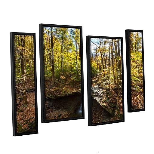 "ArtWall 'Blue Hen Falls' 4-Piece Canvas Staggered Set 24"" x 36"" Floater-Framed (0yor004i2436f)"
