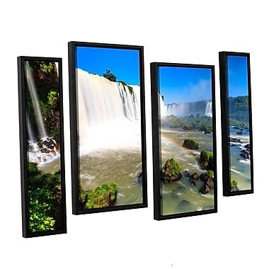 ArtWall 'Iguassu Falls 3' 4-Piece Floater Framed Canvas Staggered Set 36