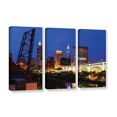 ArtWall 'Cleveland 21' 3-Piece Gallery-Wrapped Canvas Set 36