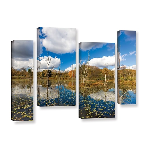"""ArtWall 'Beaver Marsh' 4-Piece Gallery-Wrapped Canvas Staggered Set 24"""" x 36"""" (0yor001i2436w)"""