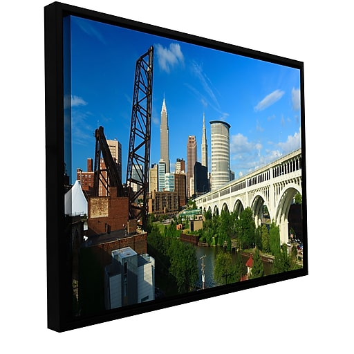 """ArtWall 'Cleveland 11' Gallery-Wrapped Canvas 12"""" x 24"""" Floater-Framed (0yor024a1224f)"""