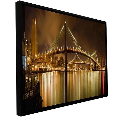 """ArtWall 'Brooklyn Bridge' Gallery-Wrapped Canvas 18"""" x 36"""" Floater-Framed (0yor012a1836f)"""