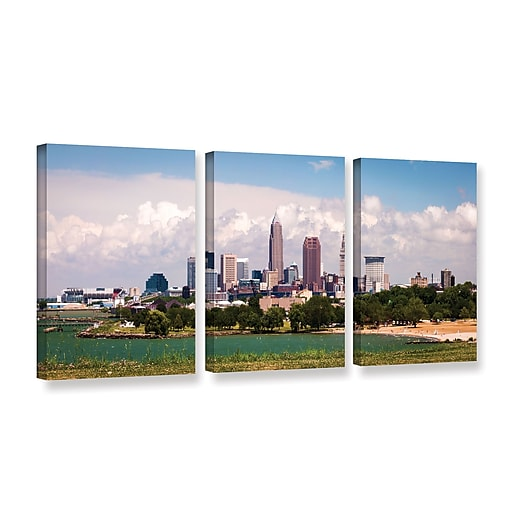 "ArtWall 'More Cleveland' 3-Piece Gallery-Wrapped Canvas Set 36"" x 72"" (0yor037c3672w)"
