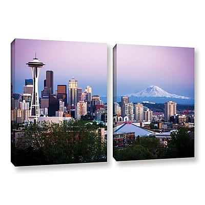 ArtWall 'Seattle And Mt. Rainier 2' 2-Piece Gallery-Wrapped Canvas Set 18