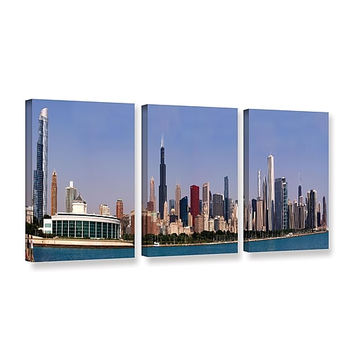 """ArtWall 'Chicago Pano' 3-Piece Gallery-Wrapped Canvas Set 24"""" x 48"""" (0yor014c2448w)"""