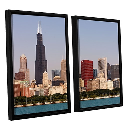 "ArtWall 'Chicago' 2-Piece Canvas Set 32"" x 48"" Floater-Framed (0yor013b3248f)"