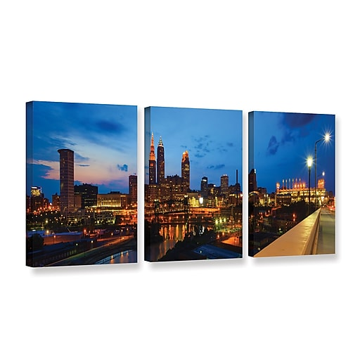 "ArtWall 'Cleveland 8' 3-Piece Gallery-Wrapped Canvas Set 24"" x 48"" (0yor021c2448w)"