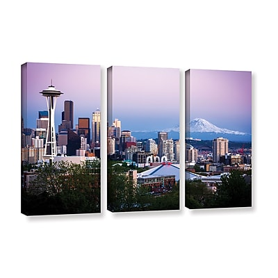 ArtWall 'Seattle And Mt Rainier 2' 3-Piece Gallery-Wrapped Canvas Set 36