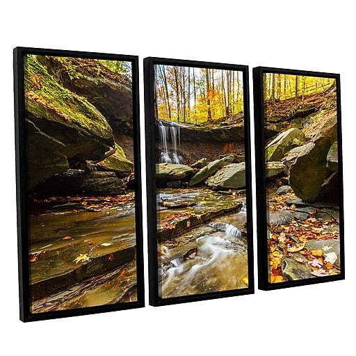 """ArtWall 'Blue Hen Falls 3' 3-Piece Canvas Set 36"""" x 54"""" Floater-Framed (0yor003c3654f)"""