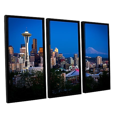 ArtWall 'Seattle And Mt. Rainier' 3-Piece Canvas Set 36