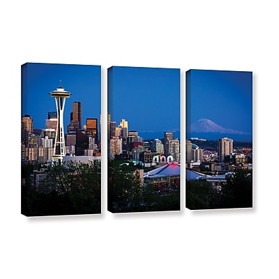 ArtWall 'Seattle And Mt. Rainier' 3-Piece Gallery-Wrapped Canvas Set 36