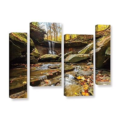 ArtWall 'Blue Hen Falls 3' 4-Piece Gallery-Wrapped Canvas Staggered Set 36