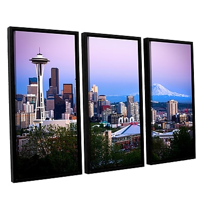 ArtWall 'Seattle And Mt Rainier 2' 3-Piece Canvas Set 36