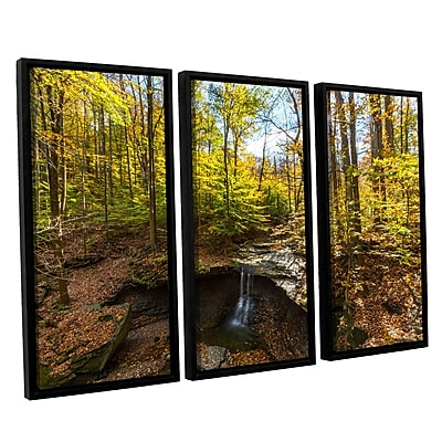 ArtWall 'Blue Hen Falls' 3-Piece Canvas Set 36
