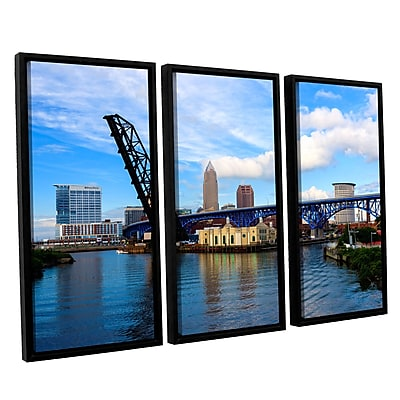 ArtWall 'Cleveland 12' 3-Piece Floater Framed Canvas Set 36