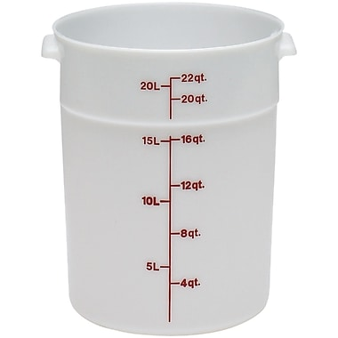 Cambro RFS22-148 Poly Round Storage Container, 22 Quart, White, 6/Pack