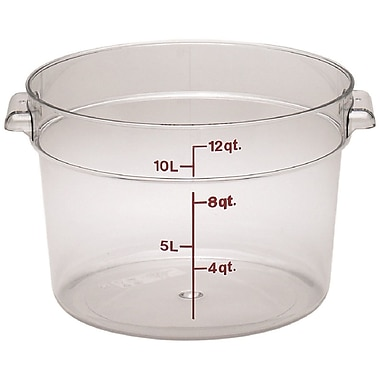 Cambro RFSCW12-135 Camwear Round Storage Container, 12 Quart, Clear, 6/Pack
