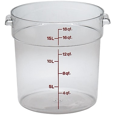 Cambro RFSCW18-135 Camwear Round Storage Container, 18 Quart, Clear, 6/Pack