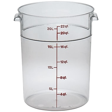 Cambro RFSCW22-135 Camwear Round Storage Container, 22 Quart, Clear, 6/Pack