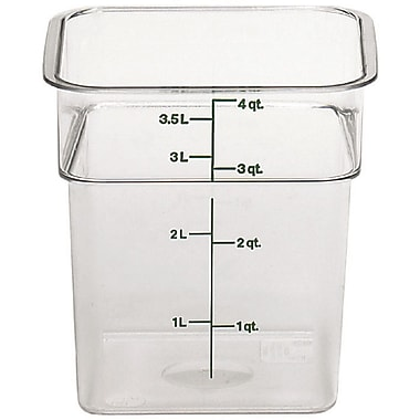 Cambro 4SFSCW-135 Square Food Storage Container 4 Quart, 6/Pack