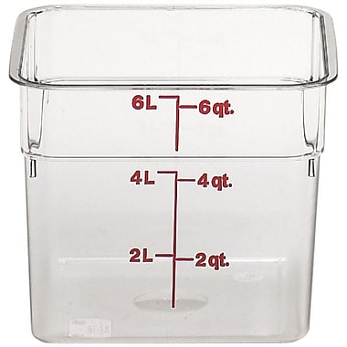 Cambro 6SFSCW-135 Square Food Storage Container 6 Quart, 6/Pack