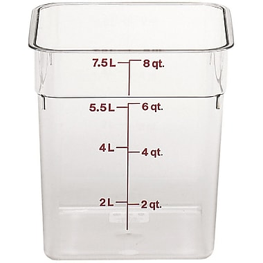 Cambro 8SFSCW-135 Square Food Storage Container 8 Quart, 6/Pack