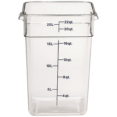 Cambro 22SFSCW-135 Square Food Storage Container 22 Quart, 6/Pack