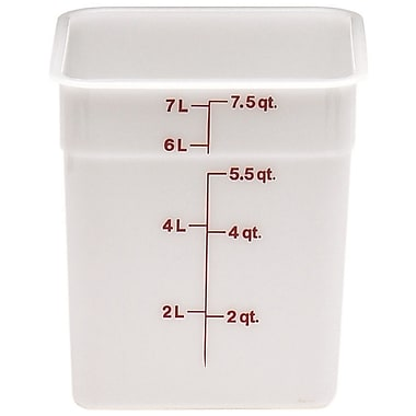 Cambro 8SFSP-148 Square Poly Food Storage Container 8 Quart, 6/Pack