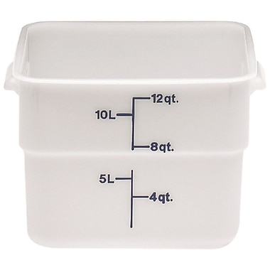 Cambro 12SFSP-148 Square Poly Food Storage Container 12 Quart, 6/Pack