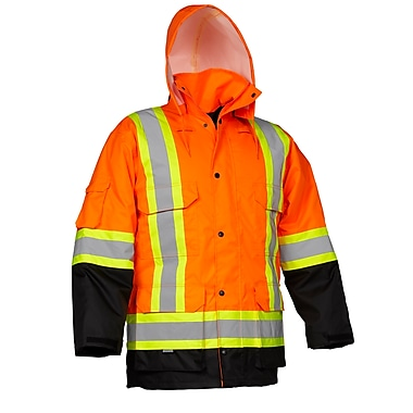 Forcefield Safety Cargo Parka, Orange with Black trim, Size Small