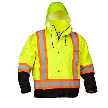 Forcefield 4-In-1 Safety Parka, Lime with Black trim, Size Small