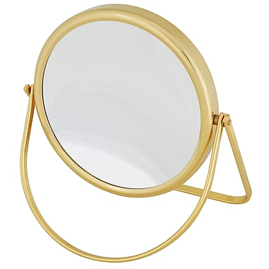 Frasco Polished Brass Beauty Mirror 7x Magnification 6.75