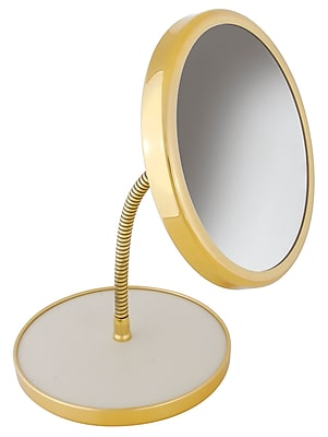 Frasco Polished Brass Beauty Mirror 5x Magnification 13.75