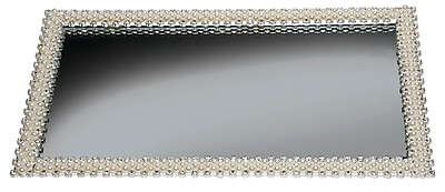 "Naturally by Kingsley Polished Chrome Beauty Mirror 12.7"" x 7"" Faux Pearl (M-22)"