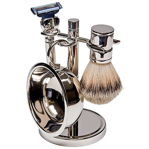 Kingsley for Men 5-Piece Men's Shave Set Silver Plate (SB-670)