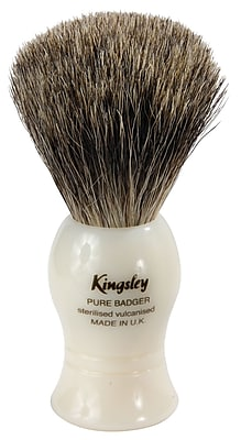 Kingsley for Men Pure Badger Bristle Shave Brush-Faux Ivory Handle