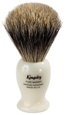 Kingsley for Men Pure Badger Bristle Shave Brush-Faux with Ivory Handle