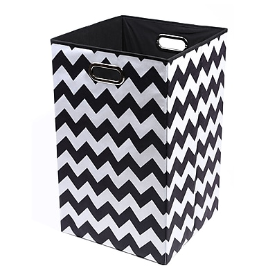 Modern Littles Bold Chevron Folding Laundry Basket, Black/White