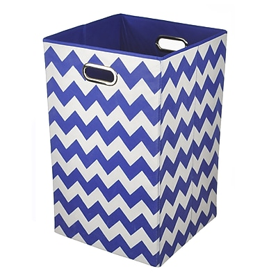 Modern Littles Folding Laundry Basket, Bold Blue Chevron, 13.75