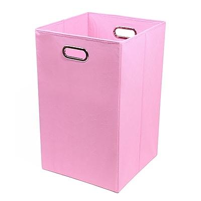 Modern Littles Folding Laundry Basket, Rose Solid Pink 13.75