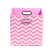 "Modern Littles 10.5"" x 10.5"" x 10.5"" Folding Storage Bin, Pink Rose Zig Zag (ROSSTOR101)"