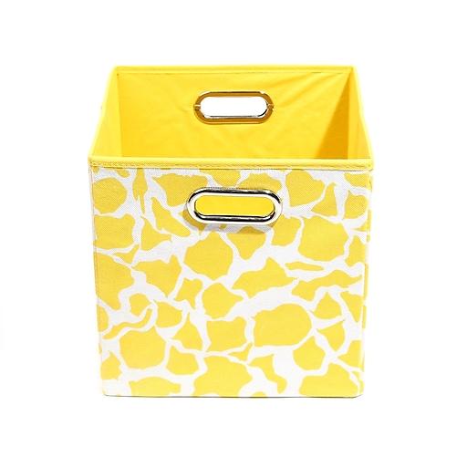 "Modern Littles 10.5"" x 10.5"" x 10.5"" Folding Storage Bin, Yellow Rusty Giraffe (RSTSTOR301)"
