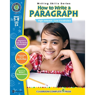 eBook: How to Write a Paragraph, Grades 5-8 (PDF version, 1-User Download), ISBN 978-1-55319-392-0