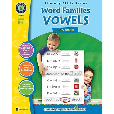 Word Families - Vowels Big Book, Grades K-1, ISBN 978-1-55319-404-0